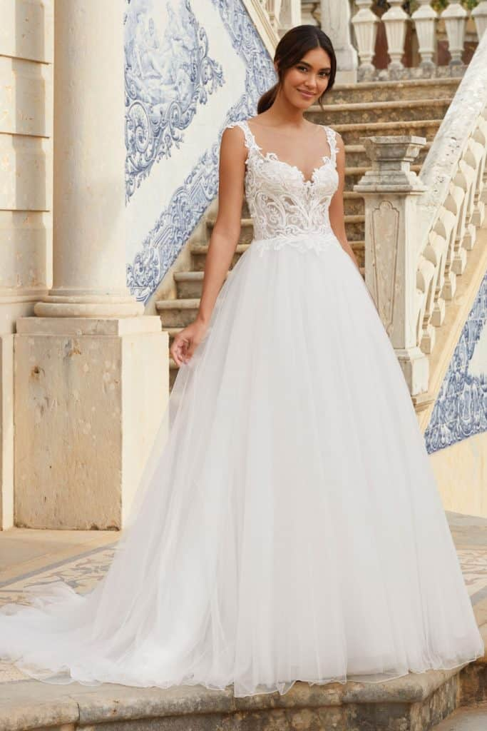 Sincerity 44168 Venice Lace & tulle wedding dress front