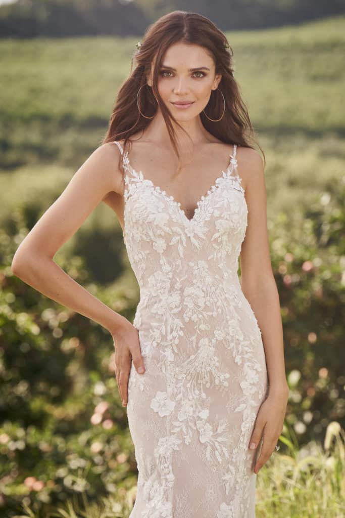 bohemian wedding dress with modern lace and beading